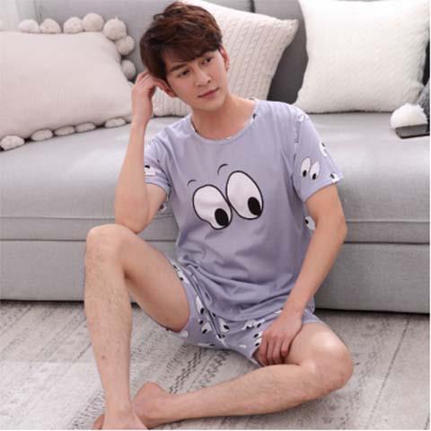 Pajamas Male Summer Short Sleeve Shorts Men's Pajamas Adolescents XL Cartoon Tracksuit Set