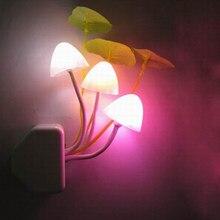 Novidade criativo luz noturna ue/eua plug sensor de luz 3led colorido cogumelo lâmpada led AC110V-220V luzes da noite para o bebê