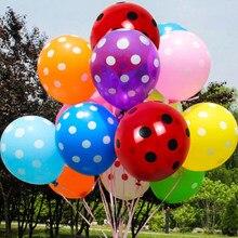 10 шт 12 дюймов латексные красочные красно-оранжевого, сине-розовый в шарики в горошек для дня рождения, вечерние аксессуары для Globos надувные ...