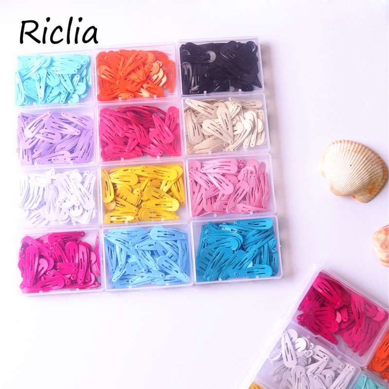 Riclia 50pcs/lot Kids Hairpins Solid Simple Child Hair Accessories Small Hairpins With Case Children Headhair For Girls As Gift