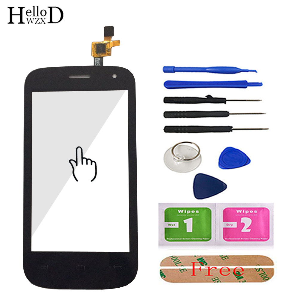 Touch Screen For Fly IQ445 IQ 445 Touch Screen Digitizer Glass Panel Lens Sensor Capactive Flex Cable Parts Tools Adhesive