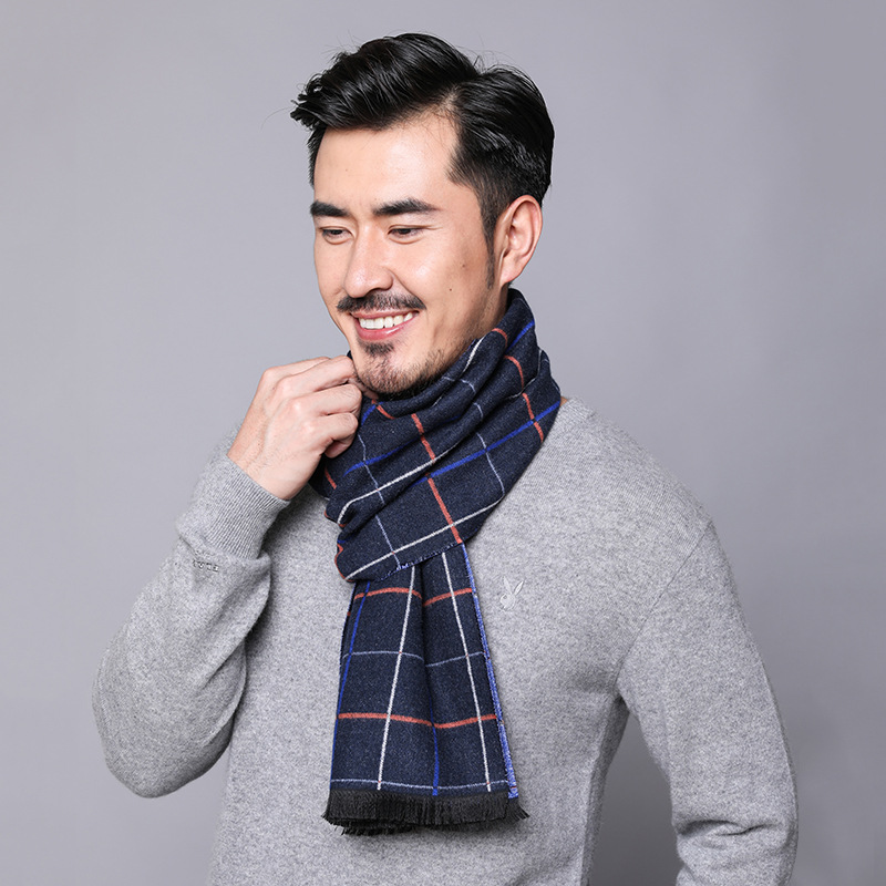 2019 Autumn More Ti Mey Korean-style New Style Men Warm Geometry Crimping Currently Available Faux Cashmere Scarf Manufacturers