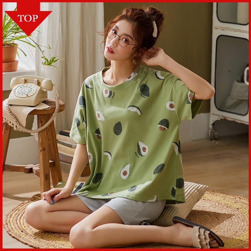 VDOGRIR, женские летние комплекты одежды для сна, милые пижамы с рисунком авокадо, хлопковая короткая Домашняя одежда, Femme, нижнее белье, пижамы, Прямая поставка