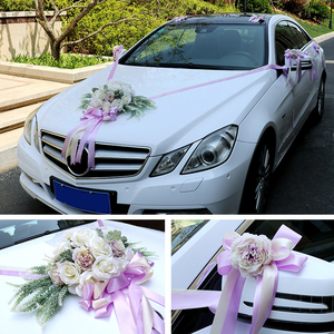 Image 3 - A set wedding car decor simulation roses artificail flowers Valentines Day wreath diy party wedding decoration party supplies