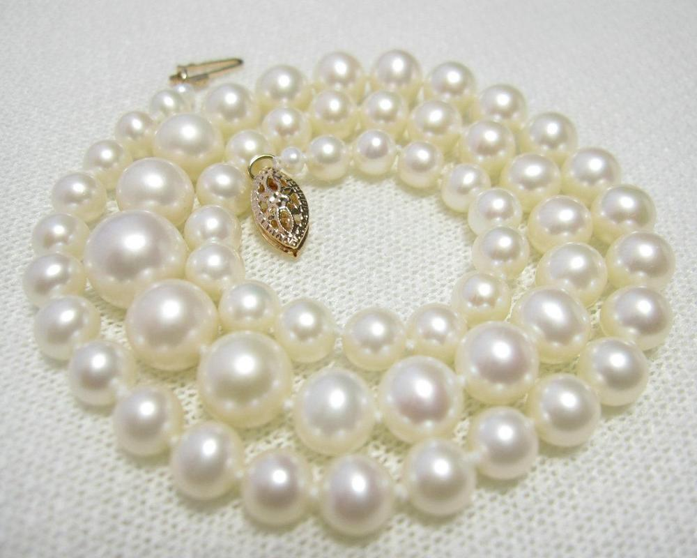 """Fine Graduated AAA White 4.5-9 mm Akoya Pearl Necklace 15"""" 16"""" 17"""" 14k/20 Gold"""