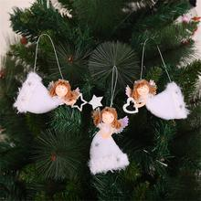 3PCS Christmas Pendant Cute Heart-shape Flying Angel Plush Hanging Ornament Tree Innovative Decoration