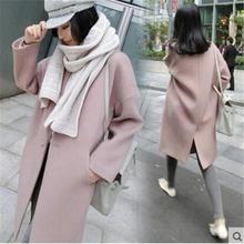 New Thin Wool Blend Coat Women Long Sleeve Turn-down Collar Outwear Jacket Casual Autumn Winter Elegant Overcoat 3xl pink coat