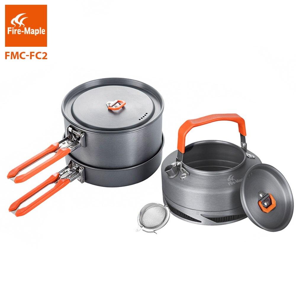fogo maple utensilios de acampamento pratos conjunto panelas piquenique caminhadas trocador calor pote chaleira fmc fc2
