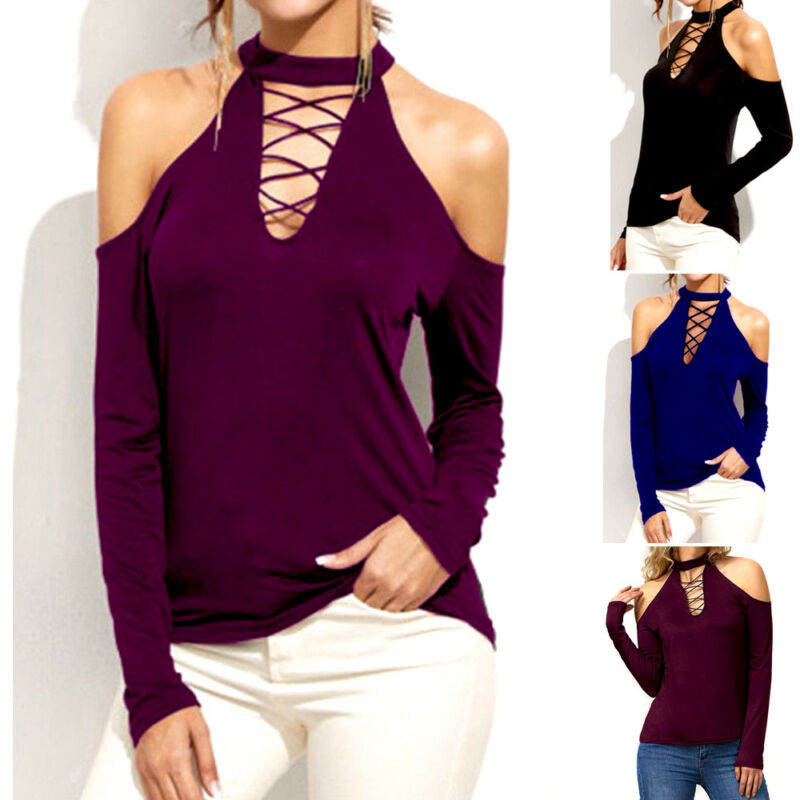 2019 Fashion Autumn Womens T-Shirts Tops Casual Choker Neck Solid Color Tops T-Shirts Loose Cold Shoulder Long Sleeve T-Shirts