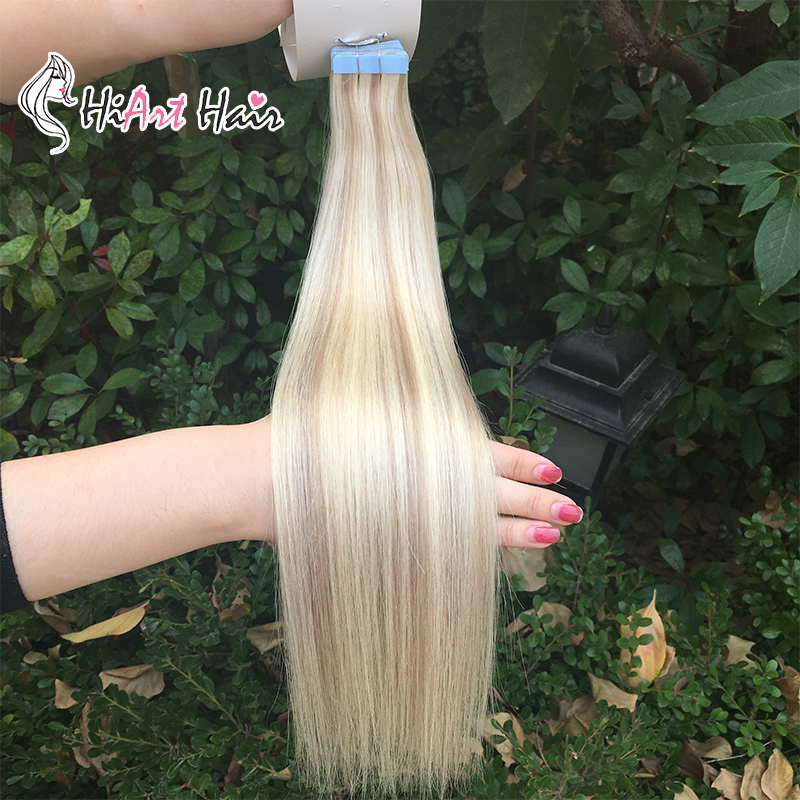 """HiArt 2.5g Tape Hair Extensions Salon Double Drawn Human Remy Hair Adhesive Tape Extensions Straight Russian Hair 18""""20""""22"""""""