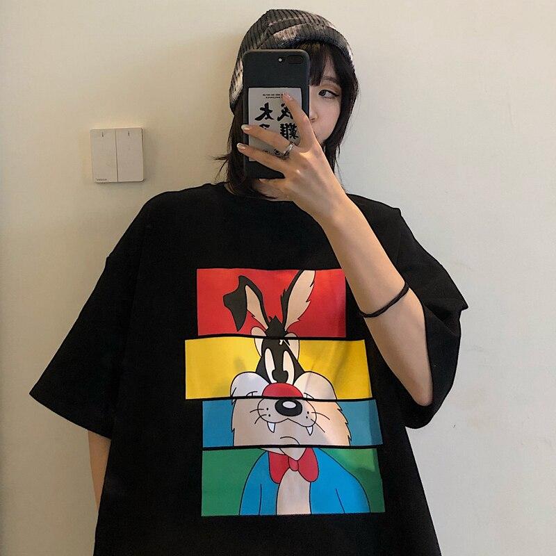 Summer Mid Length Creative Cartoon Rabbit Print Women T-shirt Harajuku Large Size O Neck Tee Shirt High Street Wear Loose Tops