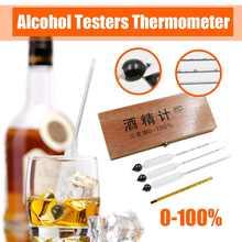 Testeurs d'alcool thermomètre alcool mètre vin Concentration mètre Vodka whisky hydromètre testeur Vintage outils barre ensemble 0-100%