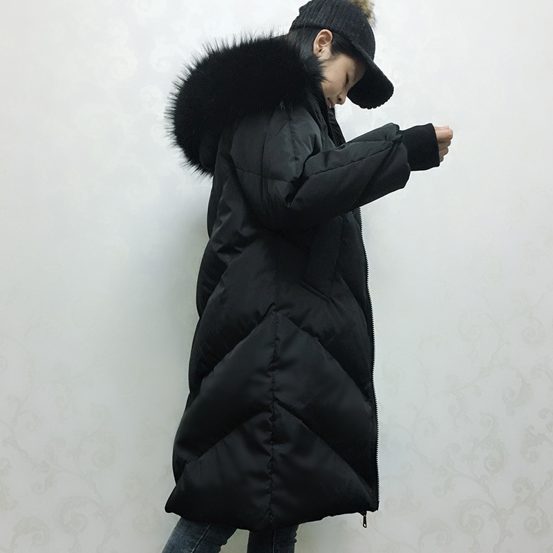 Down Jacket Winter Coat Women Clothes 2020 Women Raccoon Fur Collar Long Coats Korean Loose Parka Chaqueta Mujer MY1490
