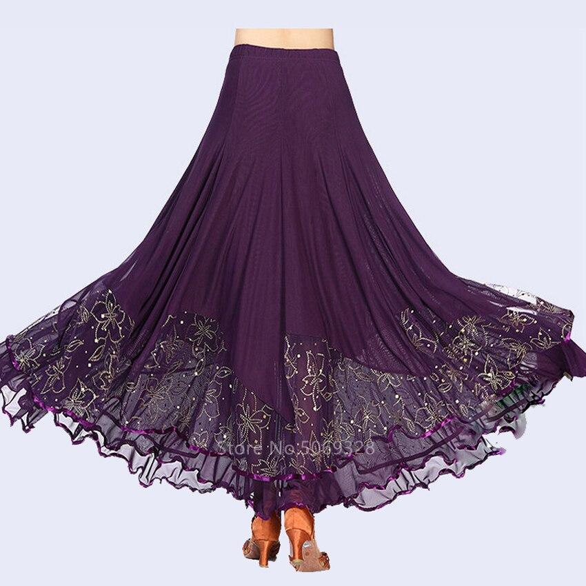 5 Colors New Flamenco Skirt For Women Gypsy Style Lace High Waist Big Swing Dress Spanish Bullfight Modern Dancing Stage Wear