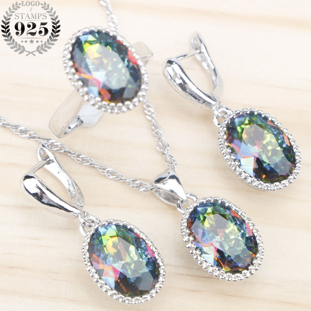 Rainbow Zircon Costume <font><b>Jewelry</b></font> <font><b>Sets</b></font> <font><b>Silver</b></font> <font><b>925</b></font> For Women Wedding Rings Earrings Pendant Necklace With Stones Free Gift Box image
