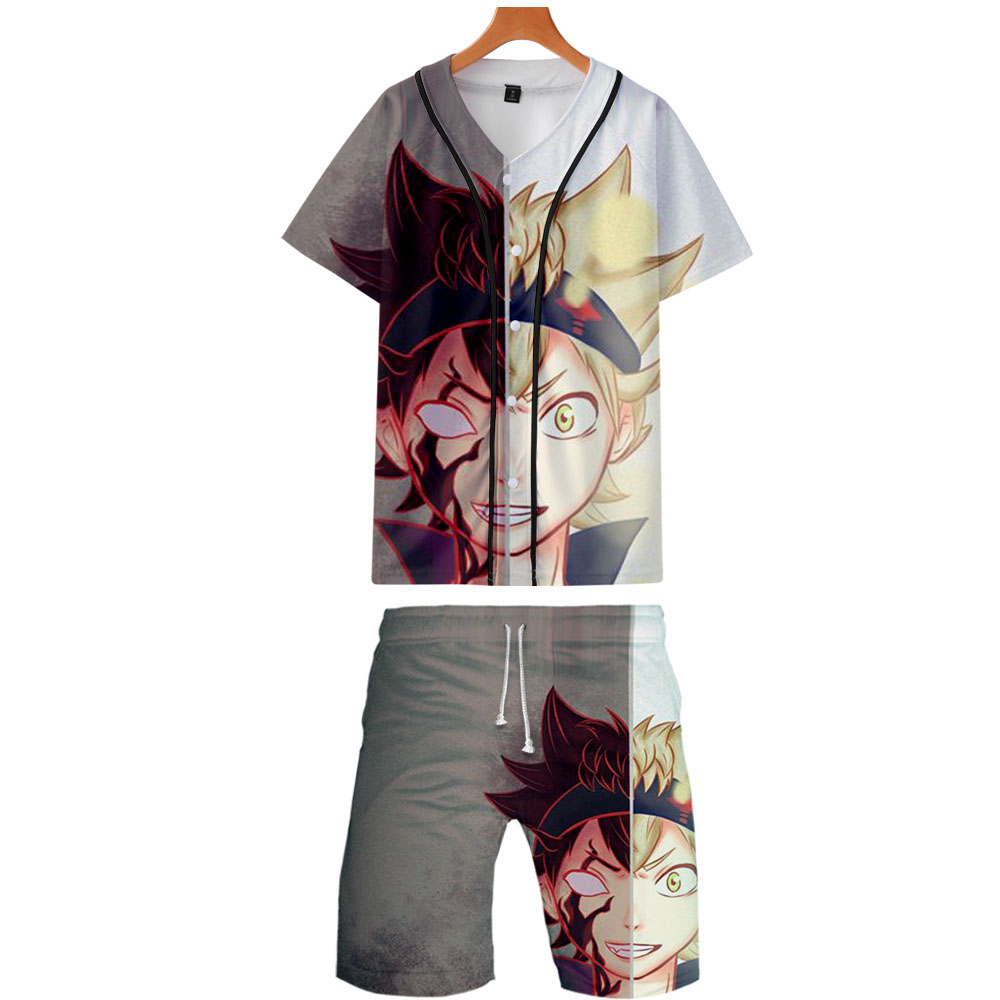 2019 Black Clover 3D Print 2 Pic Set Jacket And Shorts Kpop Fashion Cool Print Black Clover Baseball Jacket Set For Men Clothes
