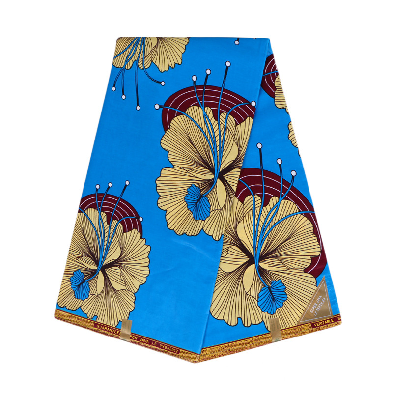 2019 Newest Fashion Design 100% Cotton Sky-Blue Color Flower Print Veritable Ankara Guarantee Real Dutch Wax