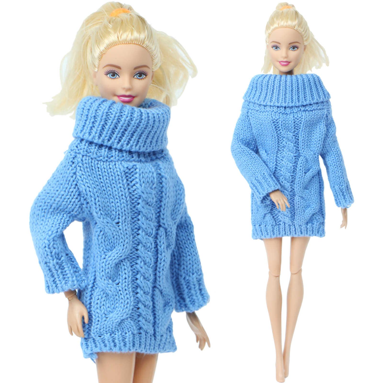 1 قطعة اليدوية أنيقة سيدة الأزرق سترة فستان الشتاء لباس اليومي غير رسمي الزي تنورة الملابس ل دمية باربي لعبة اكسسوارات