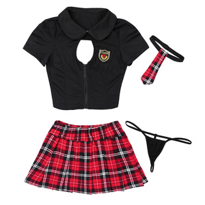 Image 4 - Women Adults Naughty Lingerie Students Sexy Cosplay Costume Schoolgirl Uniform Sexy Costumes Short Sleeves Top Plaid Rave Outfit