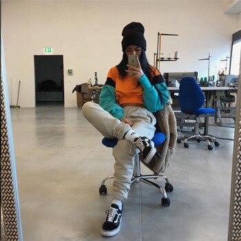 Patchwork Hoodies Sweatshirts 2019 Women Casual Kawaii Harajuku Fashion Punk for Girls Clothing European Tops Korean 6
