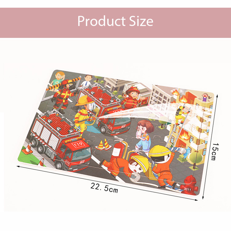 New 30 Pieces Wooden Toy Jigsaw Puzzle Wood Cartoon Animal Vehicle Kid Early Learning Baby Educational Toys for Children Puzzles 6