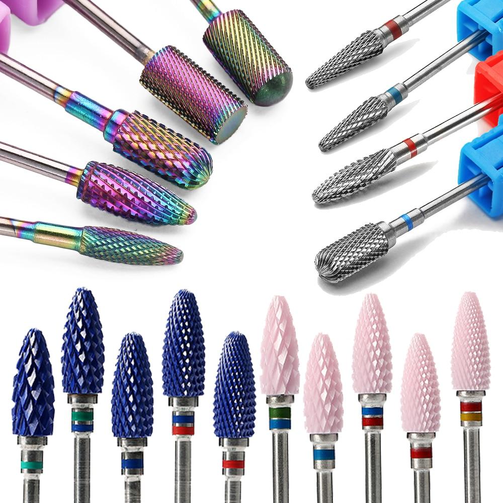 29 типов сверл для ногтей для электрической дрели аксессуары для машинки для маникюра радужные вольфрамовые карбидные керамические фрезы п...