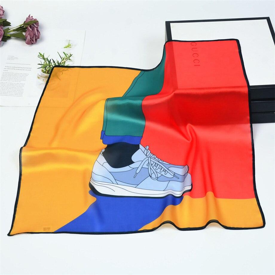 53cm Cartoon Elements Silk Scarves Women Spring Summer Square Scarf Luxury Brand Neckerchief For Ladies Bandanna Kerchief