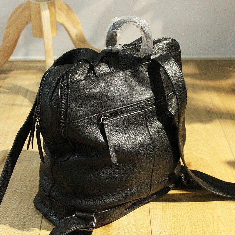 Mochila femmes sac à dos en cuir concepteur véritable cuir de vachette sac d'école dame Double fermeture éclair grande capacité Bookbag Simple sac à dos - 4