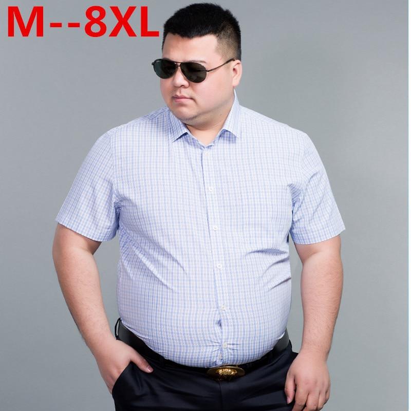 10XL 9XL 8XL 6XL 5XL 100% Cotton Mens Dress Short Sleeve Shirts Casual Loose Fit Plaid Men Shirts Brand Clothing Chemise Homme