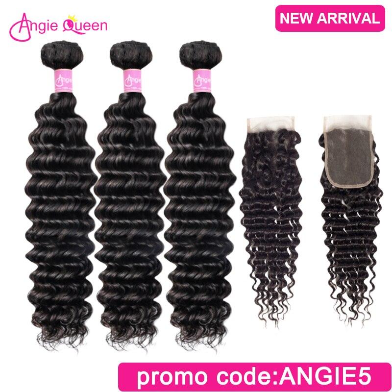 Deep Wave Hair Bundles With Closure Malaysian Remy Hair Bundles With Closure 100% Human Hair Closure With 4 Bundles 24 26 Inch