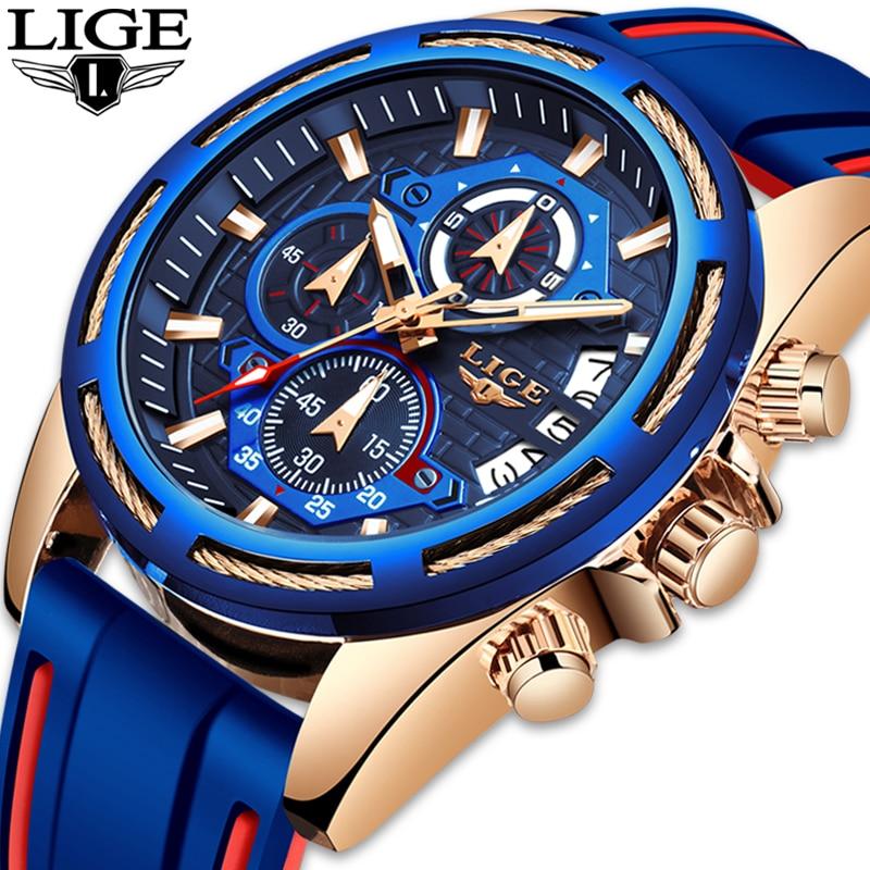 Lige relógios masculinos marca de luxo pulseira de silicone relógio de negócios relógio de quartzo masculino militar relógio esportivo relogio masculino
