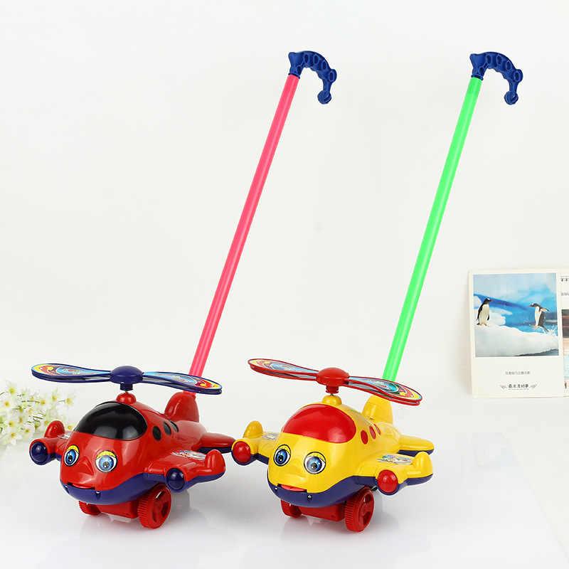 Juguete para empujar con la mano avión niños juguete para empujar con la mano juguetes educativos de plástico respetuosos con el medio ambiente para niños