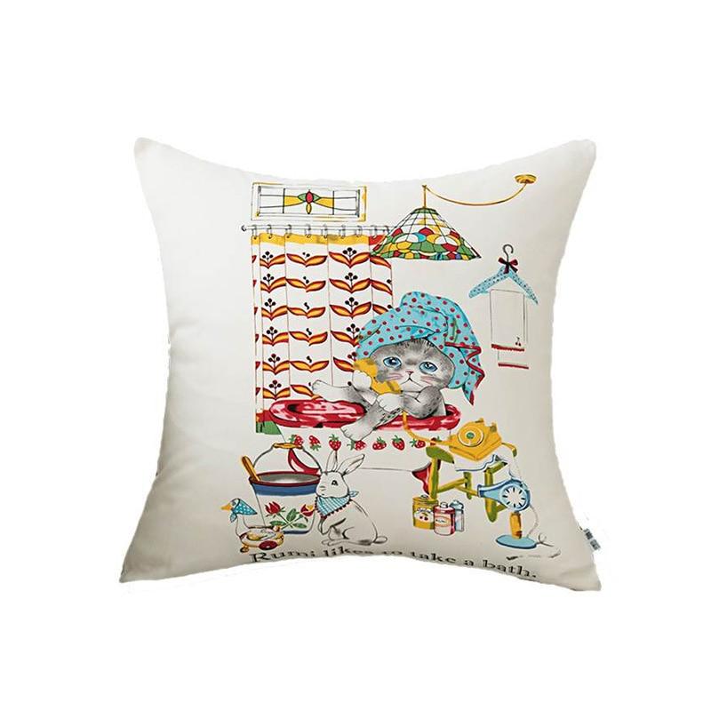 Environmental Printing Cushion Cover Cotton Canvas Sofa Bed Pillowcase Office Nap Pillowcase For Decorative in Cushion Cover from Home Garden