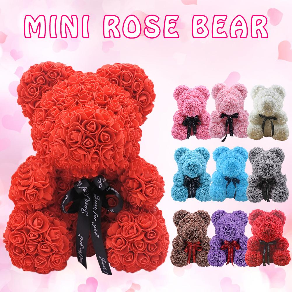 Valentines Day Gift 25cm Red Rose Teddy Bear Soap Foam Artificial Flower Bear Decoration Mother's Day Women Valentines Gift(China)