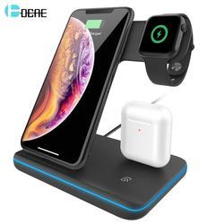 15 Вт быстрая Qi Беспроводная зарядная подставка для iPhone 11 XS XR X 8 samsung S10 S9 10 Вт 3 в 1 зарядная док-станция для Apple Watch 5 4 3 Airpods