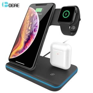 Image 1 - 15W מהיר צ י אלחוטי מטען Stand עבור iPhone 11 XS XR X 8 3 ב 1 טעינת Dock תחנה עבור אפל שעון 6 SE 5 4 3 2 Airpods פרו