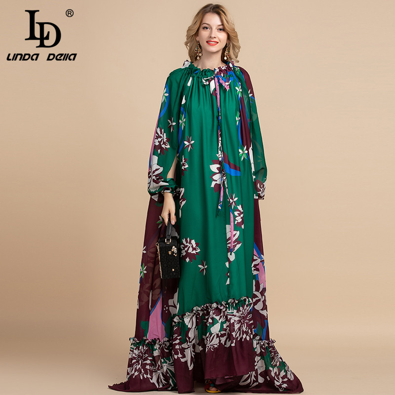 LD LINDA DELLA Spring Fashion Designer Loose Maxi Dress Women's Split Sleeve Floral Print Holiday Party Vintage Long Dress