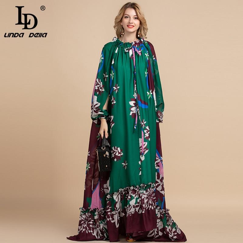 LD LINDA DELLA Spring Fashion Designer Loose Maxi Dress Women's Split Sleeve Floral Print Holiday Party Vintage Long Dress