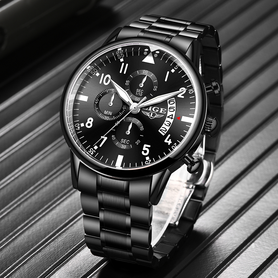 2020 LIGE New Mens Watches Top Brand Luxury Chronograph Sport Waterproof Automatic Date Quartz Watch For Men Relogio Masculino