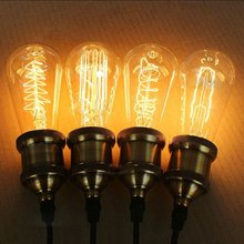 Lampada ST64 Dimmable Vintage Edison Light Bulb E27 220V 40W Ampoule Retro Edison lamp Incandescent lighting Decoration Light