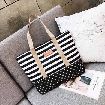 Free Shopping Handbag High Quality Women Girls Canvas Large Striped Summer Shoulder Tote Beach Bag Colored Stripes 4