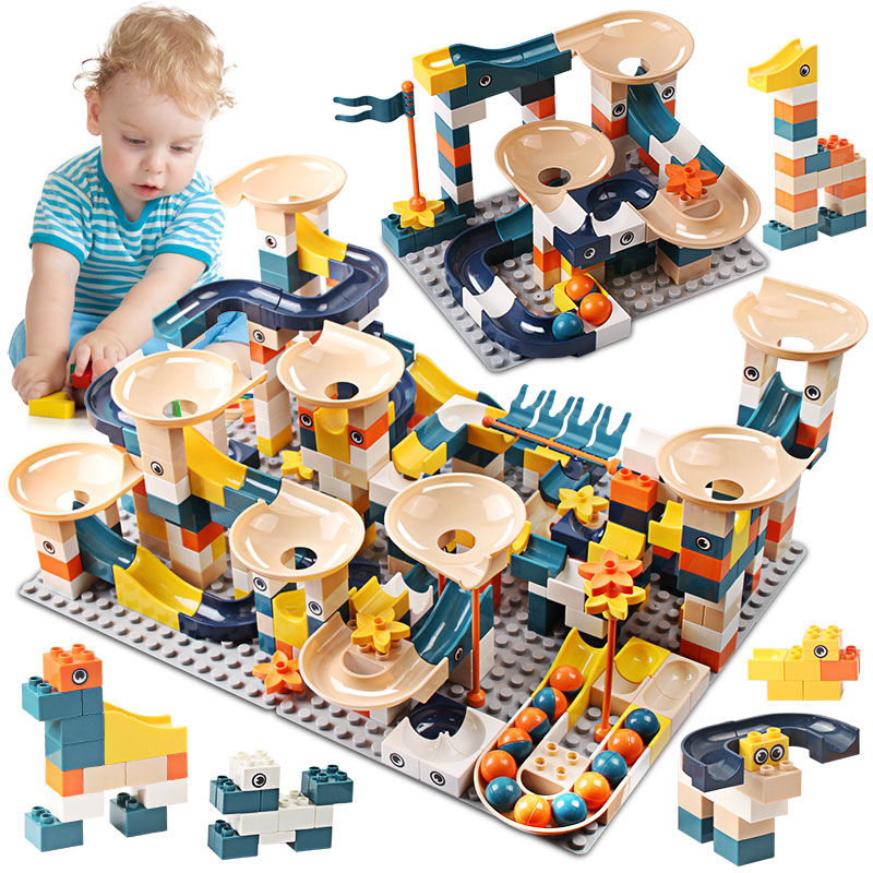 83-332PCS Marble Race Run Bricks Duploed Big Size Building Blocks Funnel Slide Blocks DIY Bricks Toys For Children Girls