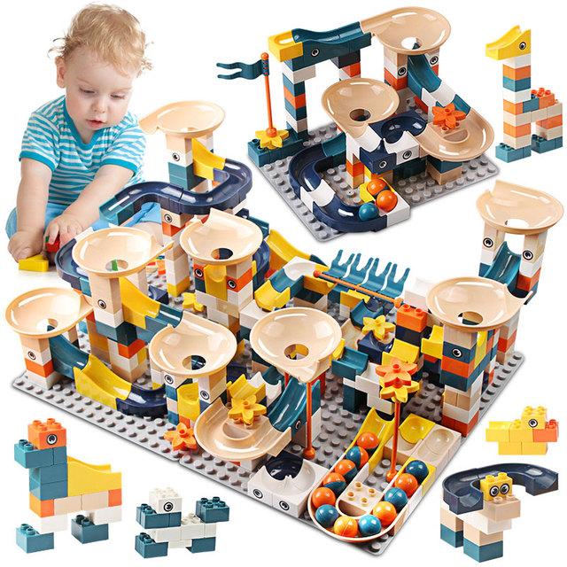 83-332PCS Marble Race Run Bricks Duploed Big Size Building Blocks Funnel Slide Blocks DIY Bricks Toys For Children Girls