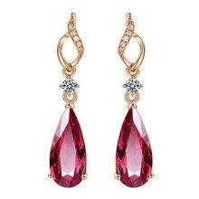 Garnet Stud Earrings Drop-shaped Red Crystal Earrings 18K Gold Plated Earrings The Latest Earrings in 2020 Natural Water Drop недорого