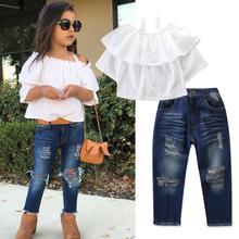 Get more info on the 2019 Fashion Toddler Kids Girls Clothing Girls Off Shoulder T-shirt Tops+Denim Pants Jeans Outfits Set