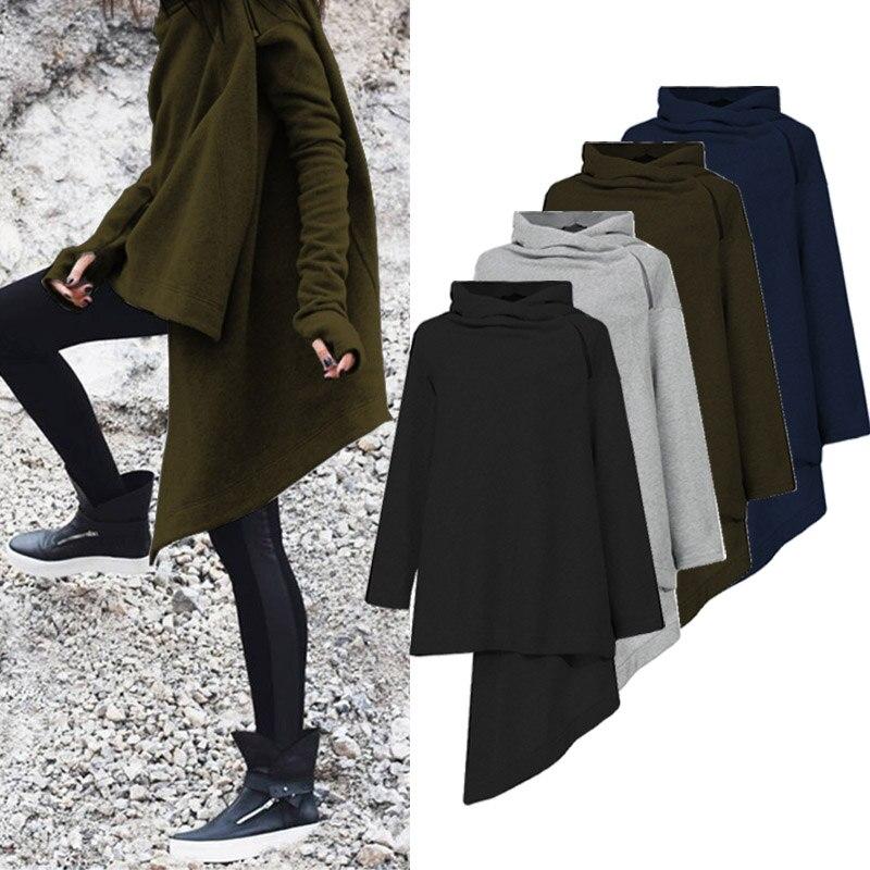 2019 Autumn Women Sweatshirt Casual Long Sleeve Hoodies Sweatshirts ZANZEA Oversized Female Solid Irregular Hem Hoodie Outwear