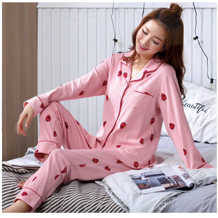 2019 Spring And Autumn Korean-style Sweet Cute Pink Strawberry New Style Long-sleeved Cardigan Pajamas Women's Homewear Set