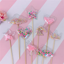 Bling Fee Transparante Ster Liefde Inserts Crown Cloud Shiny Cake Topper voor Valentijn kinderen Day Party Decoratie Leuke Cadeaus(China)