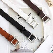 Soft Faux Leather Belt for Women Square Buckle Vintage Decor