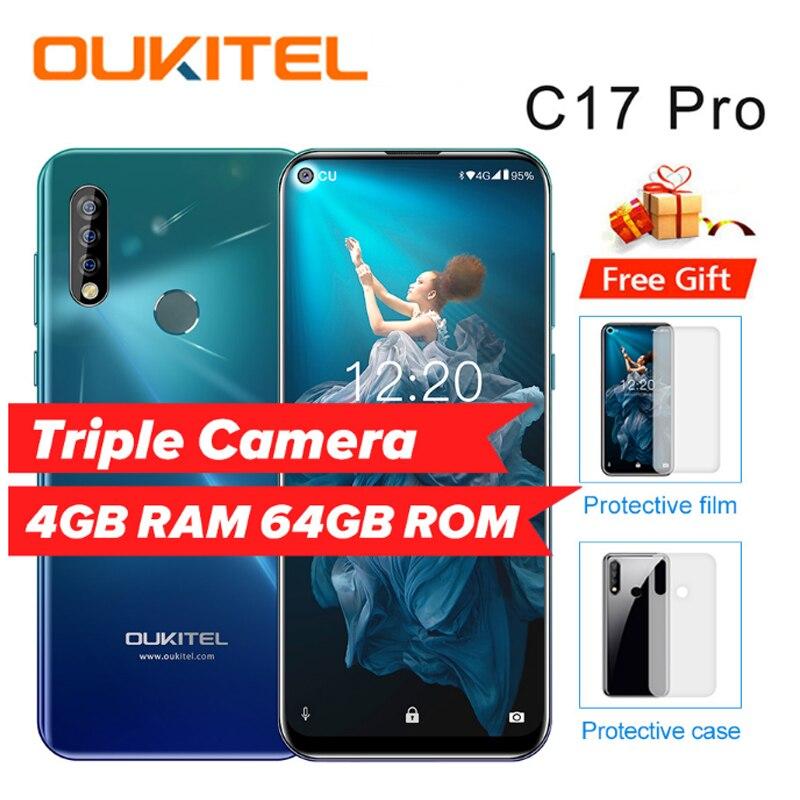 """OUKITEL C17 Pro 6.35"""" 19:9 Android 9.0 Mobile Phone MT6763 Octa Core 4G RAM 64G ROM Fingerprint 3900mAh Triple Camera Sma"""